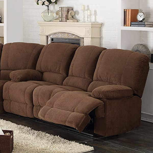 AC Pacific Kevin Collection Contemporary 3-Piece Upholstered Transitional Sectional Set with 4 Recliners, Storage Console, and Cup Holders, Brown