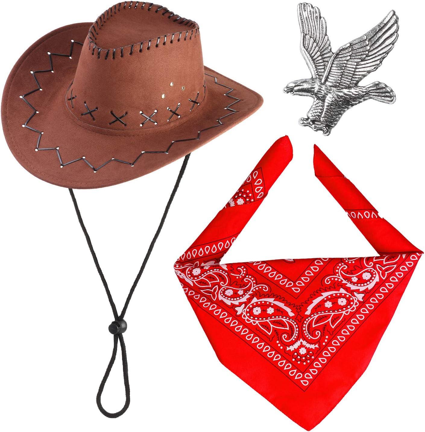 Haichen Western Cowboy Costume Accessories Set Sombrero de Vaquero Bandana Flying Eagle Pin Kit de Traje de Vaquero para la Fiesta de Halloween Dress Up (Marrón)