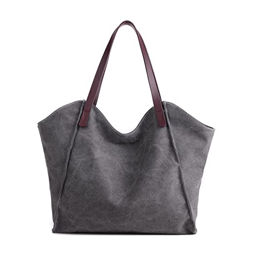 c8be6b6b9 ChilMo Women's Canvas Shoulder Bag Weekend Shopping Big Bag Tote Handbag  Work Bag,Gray