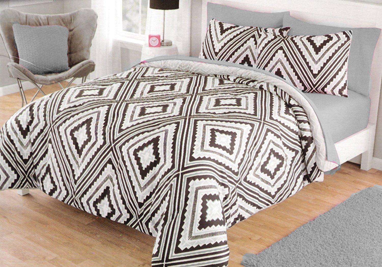 JBFF Microfiber Down Alternative Comforter Set Full//Queen Aztec