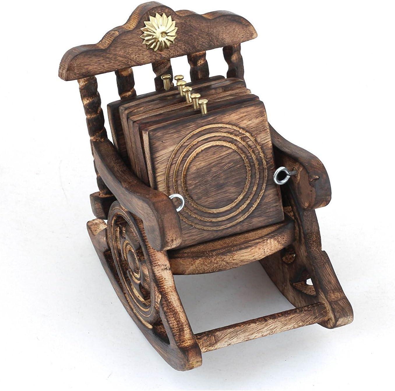 GoRevizon Wooden Antique Look Chair Shape Coaster Set Gift Item