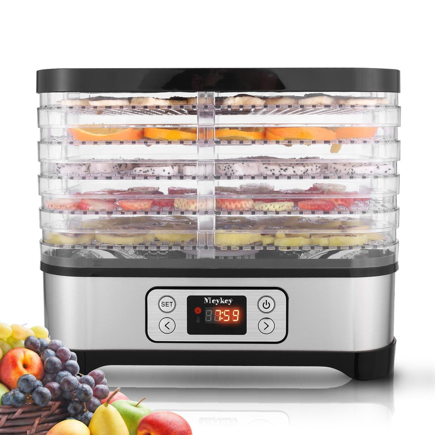 Hauture Food Dehydrator Machine, Digital Timer and Temperature Control, 5 Trays, for Jerky/Meat/Beef/Fruit/Vegetable, BPA Free