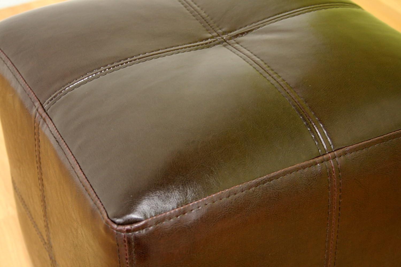 Baxton Studio Nox Brown Leather Ottoman Baxton Furniture