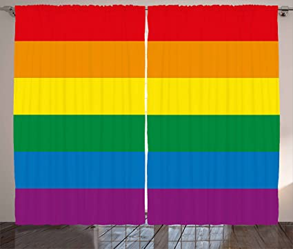 Amazon Com Ambesonne Pride Decorations Curtains Horizontal Rainbow