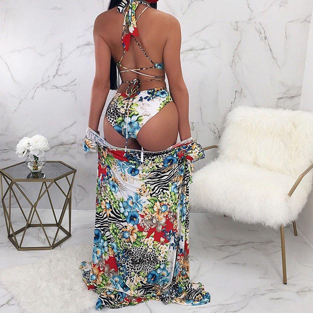 d7a322b771e Amazon.com  Paixpays Women s Two Pieces Sexy Flower Print Bikini Swimsuit+Cover  up Long Dress  Clothing