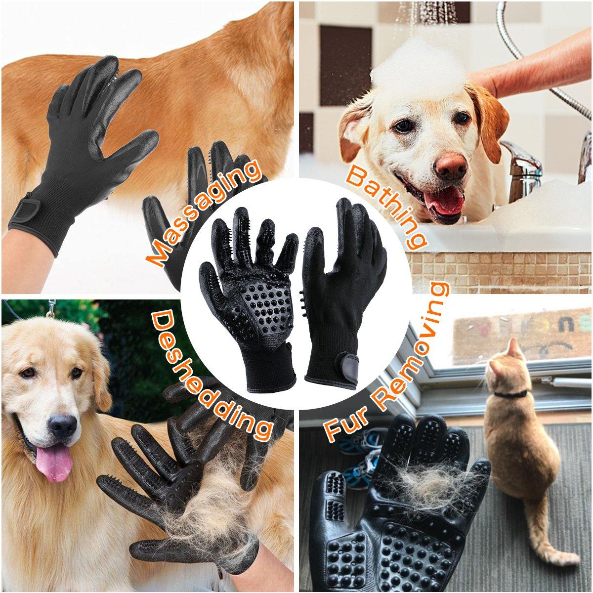 Guantes Masaje para Mascotas con Peine de acero, Mejorado Diseño de 5 Dedos Limpieza de Mascotas , Pet Grooming Gloves Funciona con Cabello Largo y Corto para Mascotas con Pelo Largo y Corto,perros, gatos, conejo,caballos