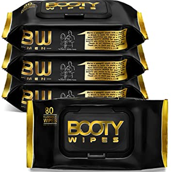 BOOTY WIPES for Men - 320 Flushable Wet Wipes for Adults, Man Wipes (320 Wipes Total - 4 Flip-Top Packs of 80) Infused with Vitamin-E & Aloe
