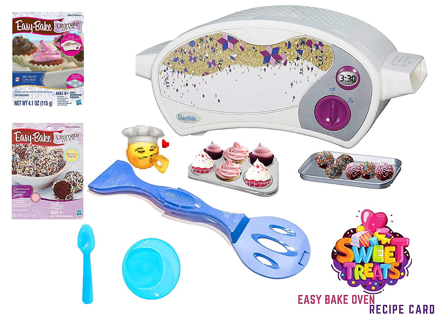 Easy Bake Ultimate Oven Baking Star Edition + 2 Oven Refill Mixes + 2 Sweet Treats Tasty Oven Recipes + Mixing Bowl and Spoon (5 Items Total) (Blue)