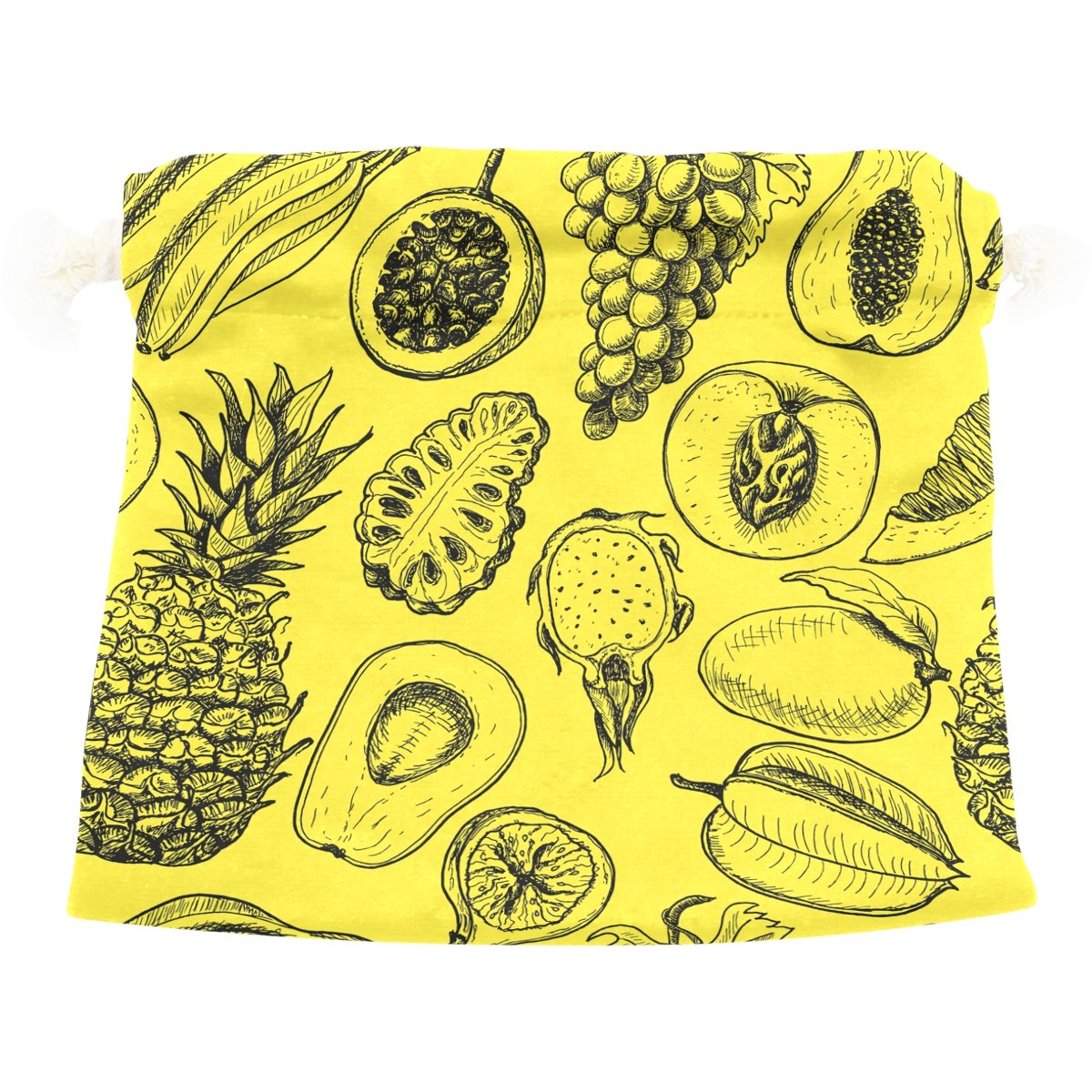 Dragon Sword Tropical Fruits Yellow Gift Bags Jewelry Drawstring Pouches for Wedding Party, 6x8 Inch