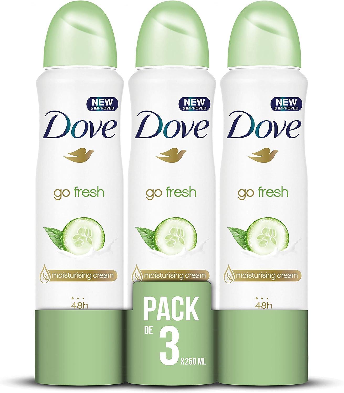 Dove Go Fresh Desodorante Antitranspirante Aerosol para Piel Sensible Té Verde y Pepino 0% Alcohol - 250 ml, Pack de 3