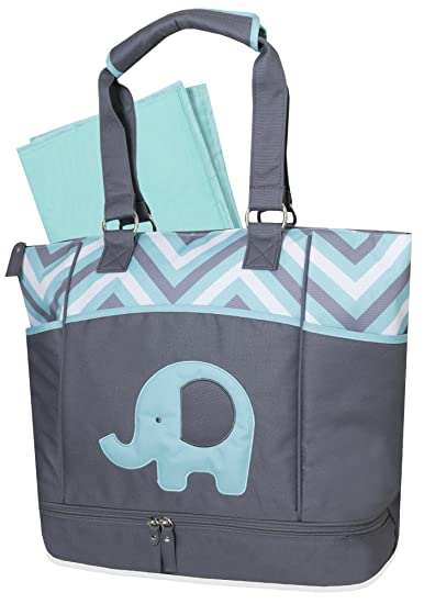 aba76c2bf9df9 Amazon.com : Baby Essentials Diaper Bag + Diaper Changing Kit with Portable  Nap Mat - Aqua/Grey Elephant : Baby