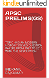 APSC PRELIMS(GS): TOPIC -INDIAN MODERN HISTORY SOLVED QUESTION PAPERS FROM 1997 TO 2015 WITH THE DESCRIPTION