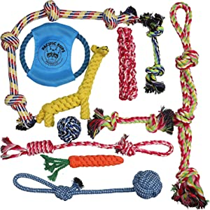 Pacific Pups Products supporting pacificpuprescue.com dog rope toys for aggressive chewers-set of 11 nearly indestructible dog toys-bonus giraffe rope toys-benefits non profit dog rescue.