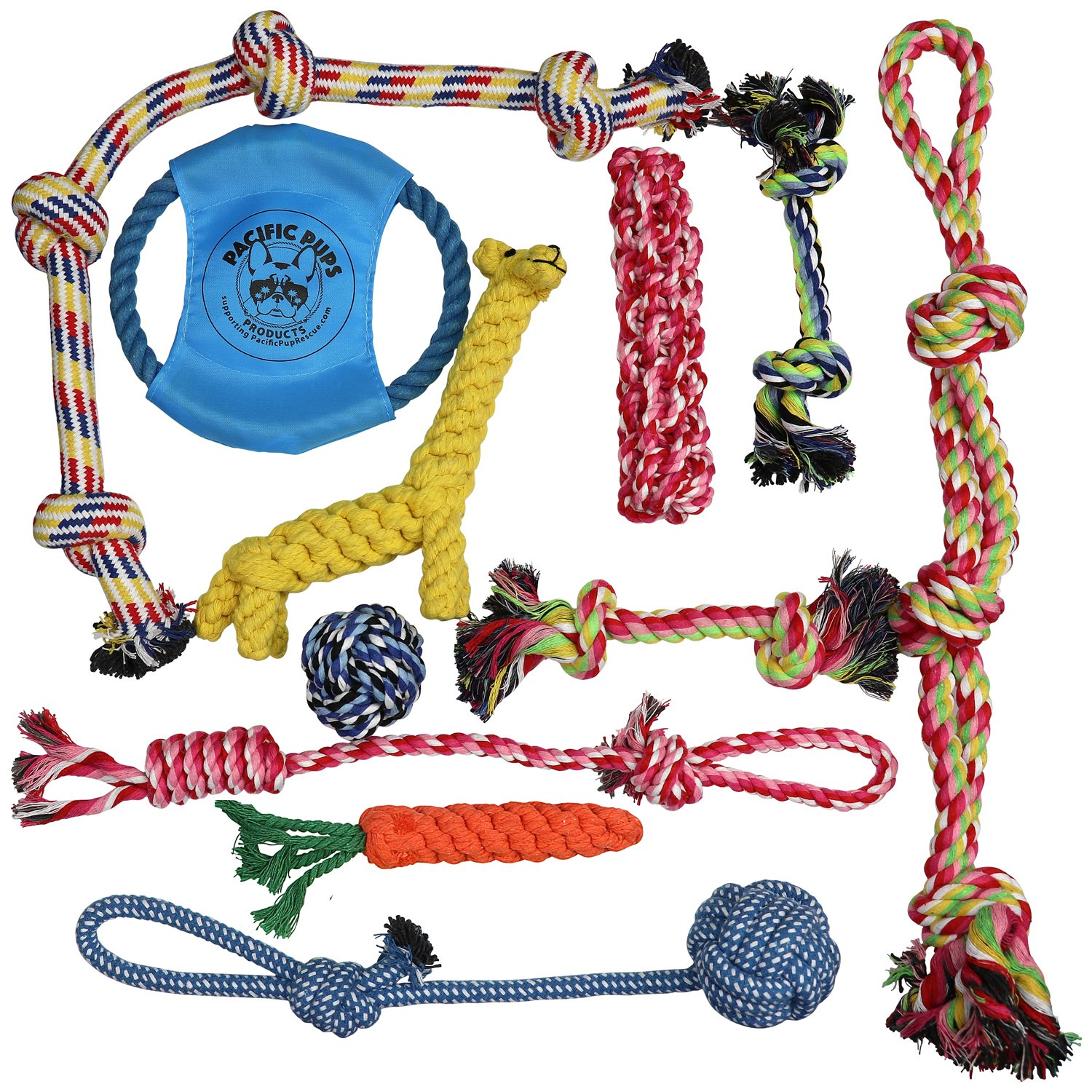 Pacific Pups Products supporting pacificpuprescue.com Dog Rope Toys for Aggressive CHEWERS - Set of 11 Nearly Indestructible Dog Toys - Bonus Giraffe Rope Toy - Benefits NONPROFIT Dog Rescue