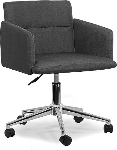 Glamour Home D cor Aila Dark Grey Fabric Swivel Office Chair