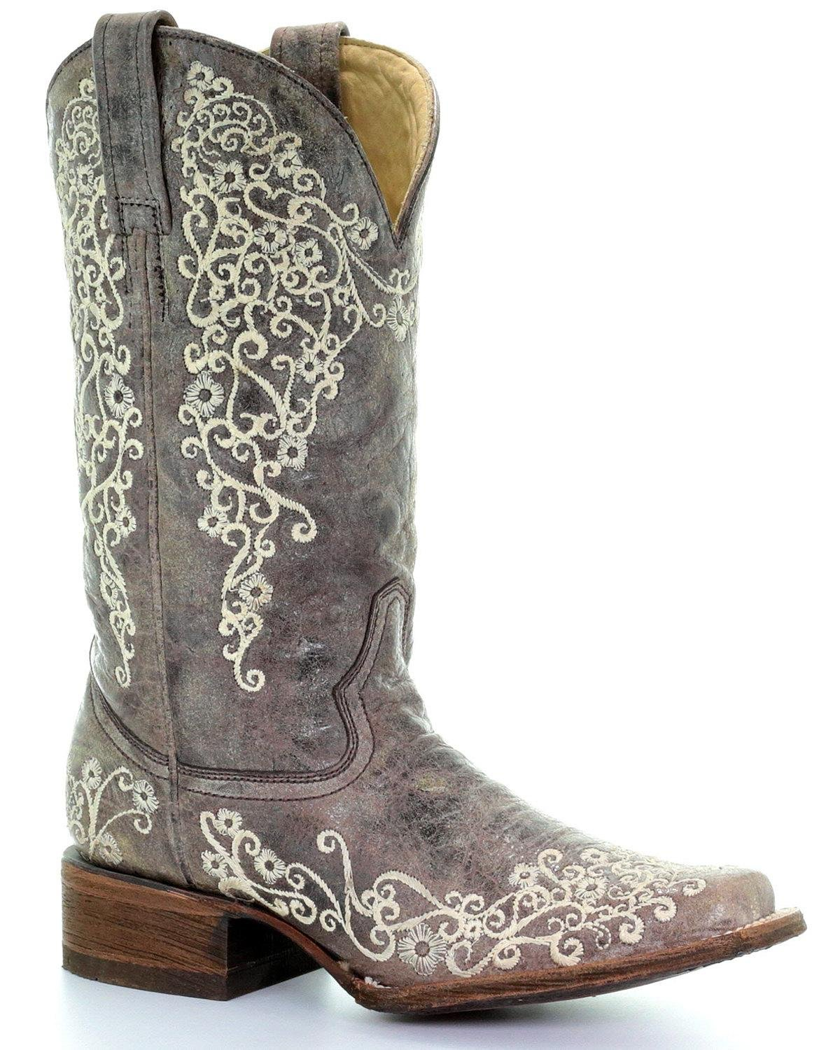 Corral Womens Brown Crater Bone Embroidery Square Toe Western Cowboy Boot