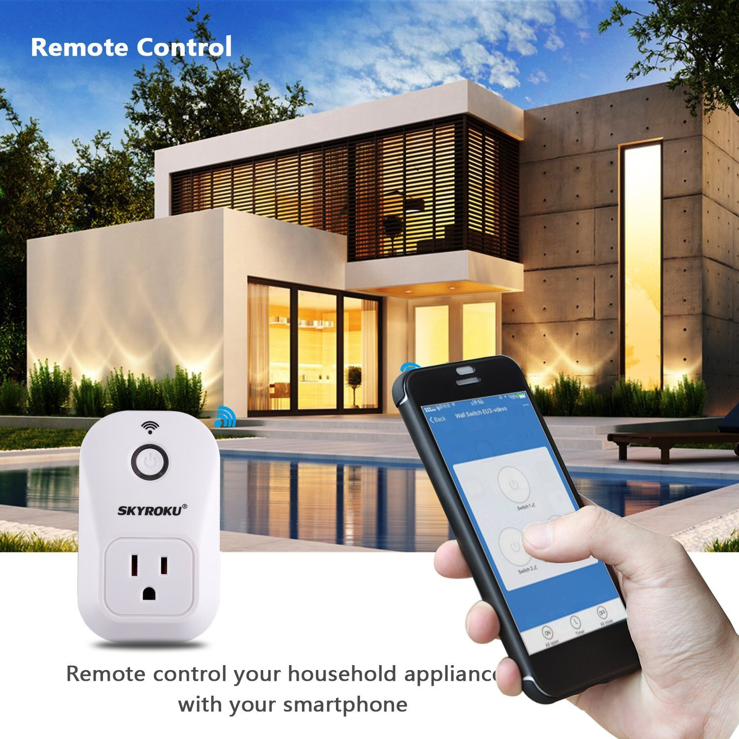WiFi Smart Plug, SKYROKU 2 Pack SM-PW701U Wi-Fi Plug No Hub Required, Works with Alexa Echo Control Your Devices from Anywhere