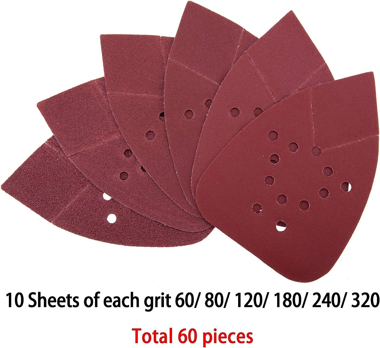SIQUK 60 Piezas Hojas de Lija Mouse Papel de Lija 60//80// 120//180// 240//320 Granos para Metal Madera