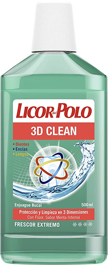 Licor del Polo Enjuague bucal 3D Clean - 12 x 500 ml, Total: 6000 ...