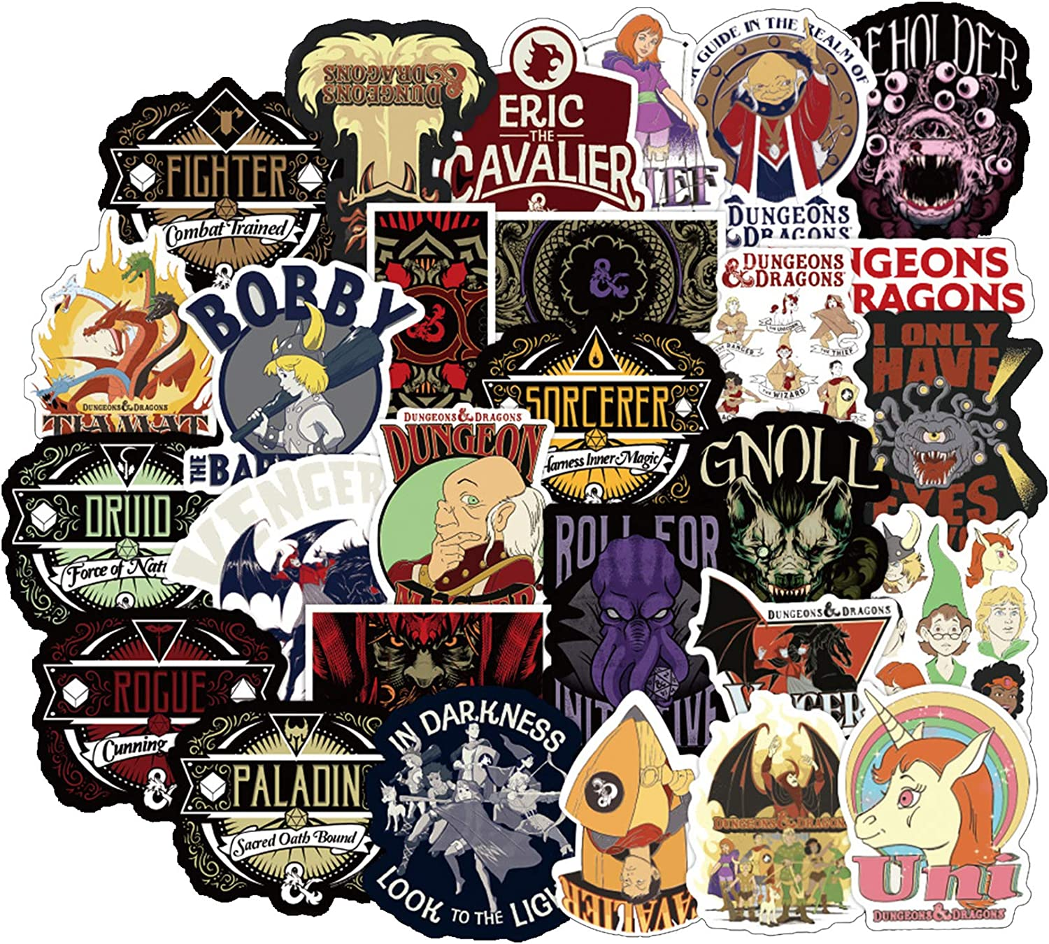 50Pcs Dungeons & Dragons Waterproof Stickers for Laptops Books Cars Motorcycles Skateboards Bicycles Suitcases Skis Luggage etc BJKT