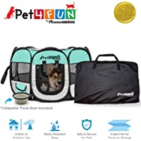 PicassoTiles PET4FUN PN935 Portable Pet Puppy Dog Cat Playpen Crates Kennel w/Water Resistant 600D Oxford, 210D Nylon, Carrying Bag, Collapsible Bowl, Removable Mesh Cover 2 Sizes