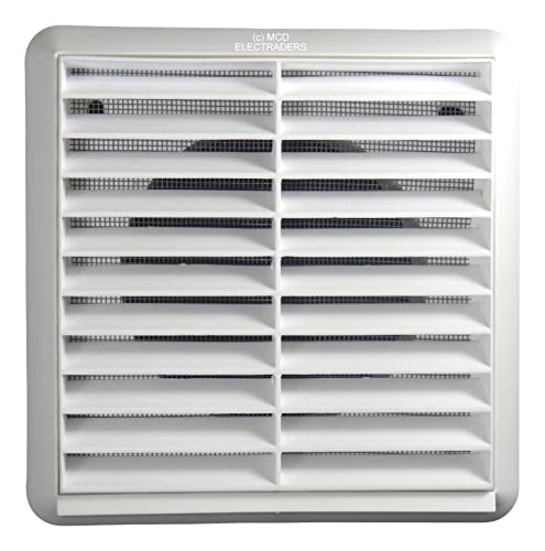 """NVA F4904W External Vent Louvre Cover with Insect Screen for 100mm / 4"""" ducting (White)"""