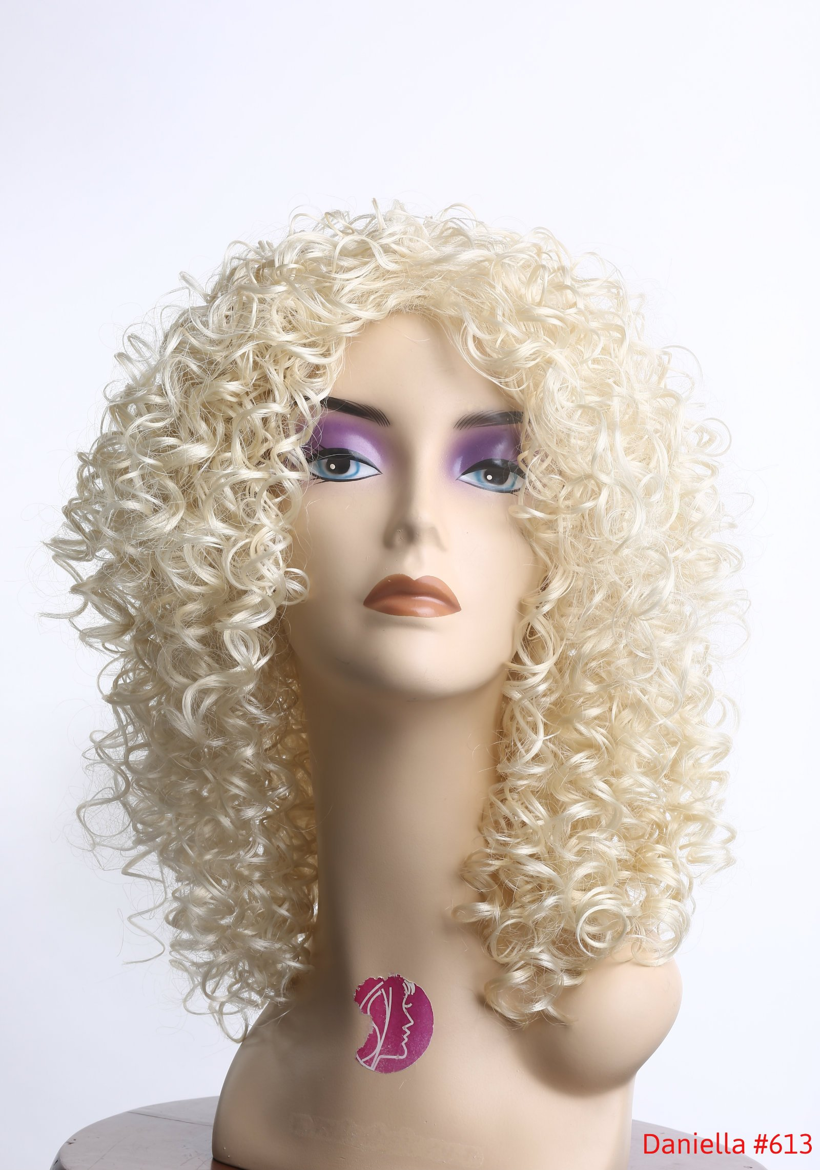 14'' Curly Wig Long Layered Light/Bleach/Patinum Blonde Looking Natural for Regular Wear or Party Cosplay Heat Friendly Fire Resistant Kanekalon (Bonus: 2 Wig Caps Provided)