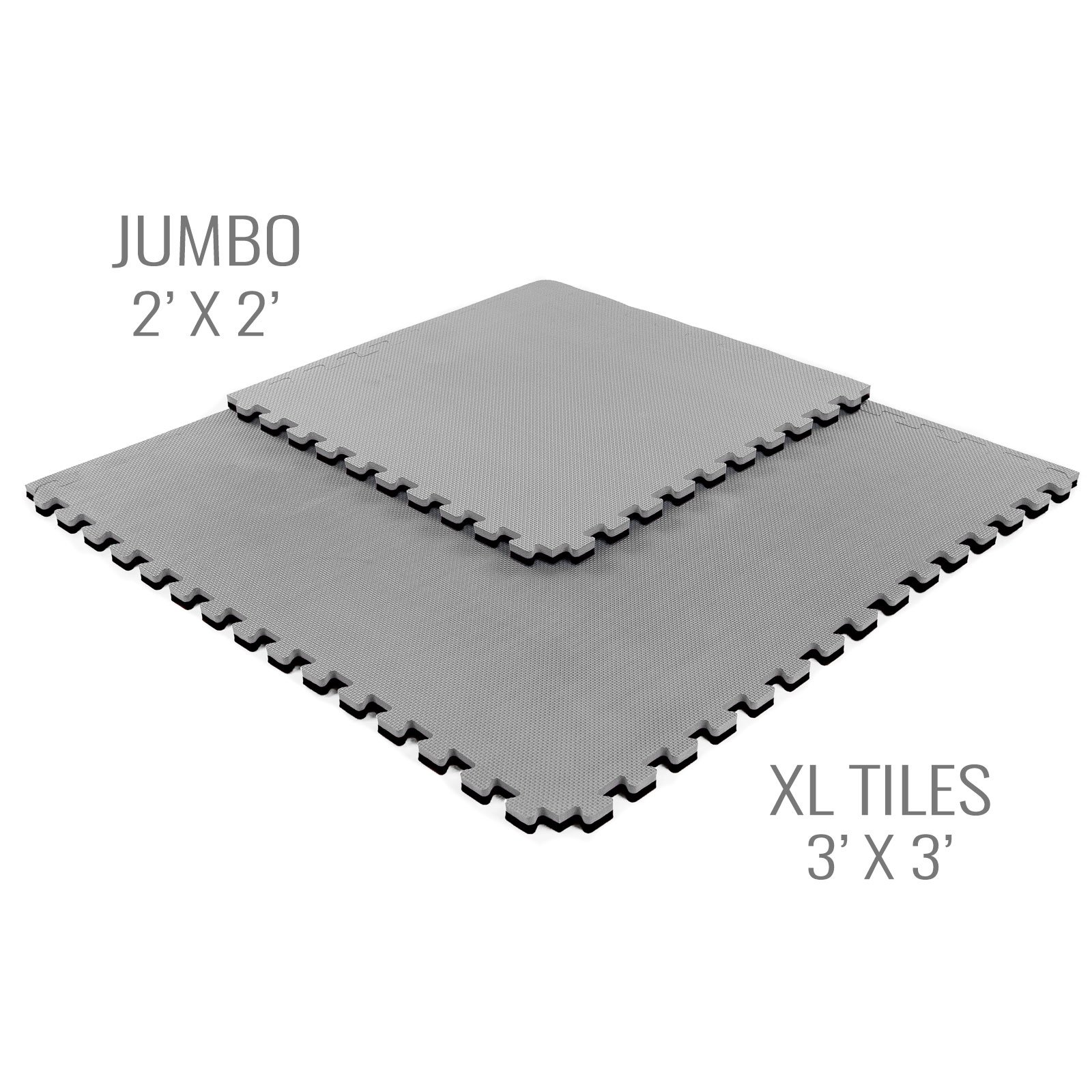 IncStores - Jumbo Soft Interlocking Foam Tiles (6 Tiles, Black/Grey) Perfect for Martial Arts, MMA, Lightweight Home Gyms, p90x, Gymnastics, Cardio, and Exercise by IncStores (Image #2)