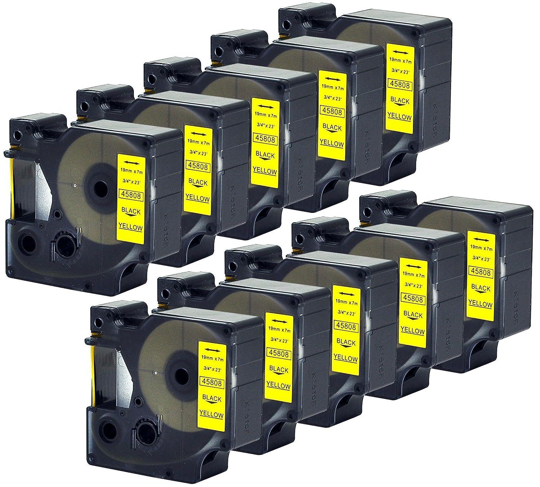 """2Pack For DYMO 45803 D1 RHINO 5200 6000 19mm Black on White Label Tape 3//4/"""" 7m"""