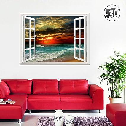 amazon com uniquebella 3d twilight beach fake wall murals stickers