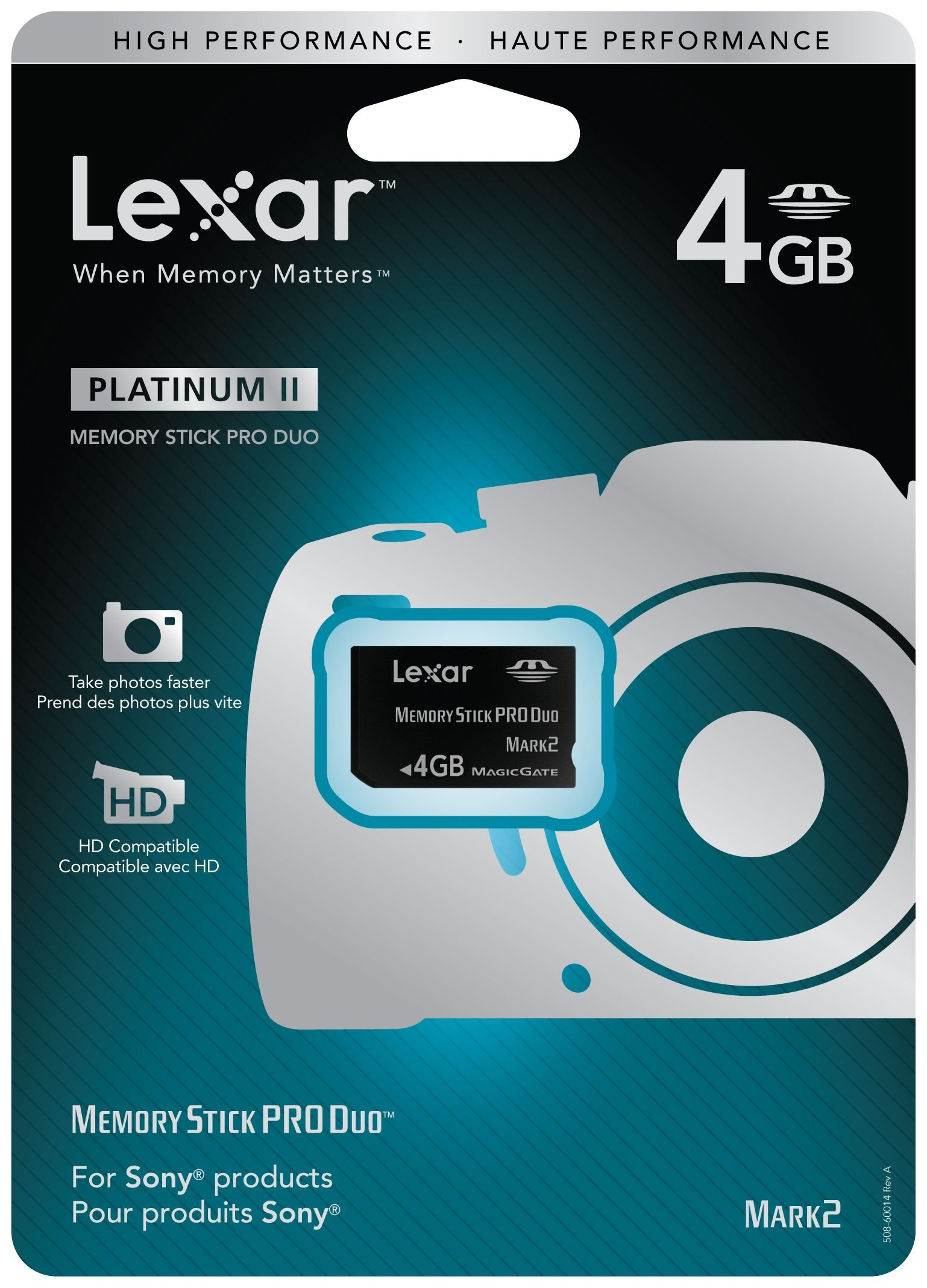 Lexar Platinum II 4GB Memory Stick Pro Duo Flash Memory Card LMSPD4GBBSBNA
