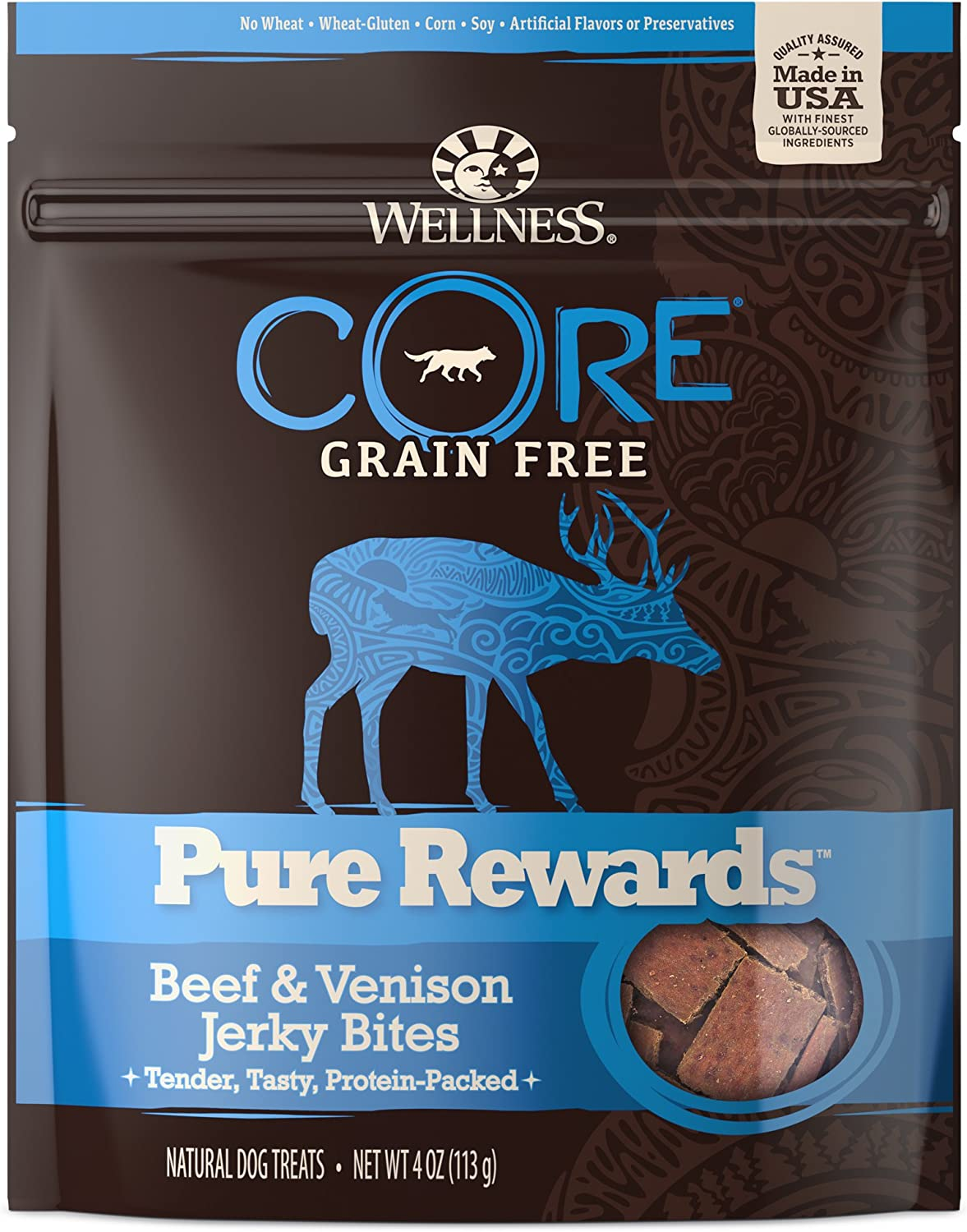 Wellness Core Pure Rewards Natural Grain Free Dog Treats, Soft Beef & Venison Jerky Bites, 4-Ounce Bag