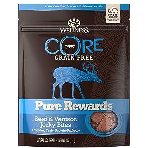Wellness Natural Pet Food CORE Pure Rewards Natural Grain Free Dog Treats, Soft Beef & Venison Jerky Bites, 4-Ounce Bag
