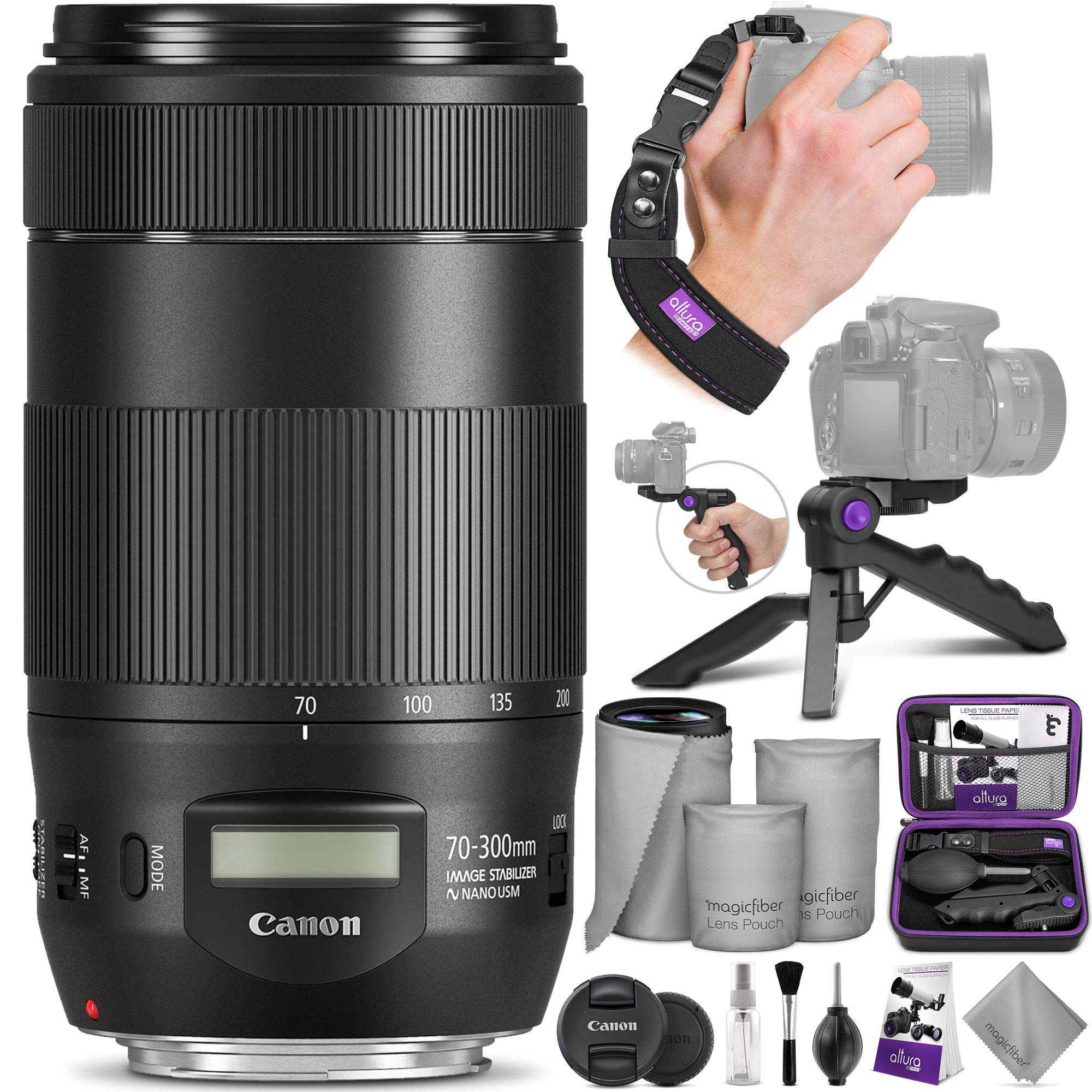 Canon EF 70-300mm f/4-5.6 is II USM Lens with Altura Photo Essential Accessory Bundle by Canon