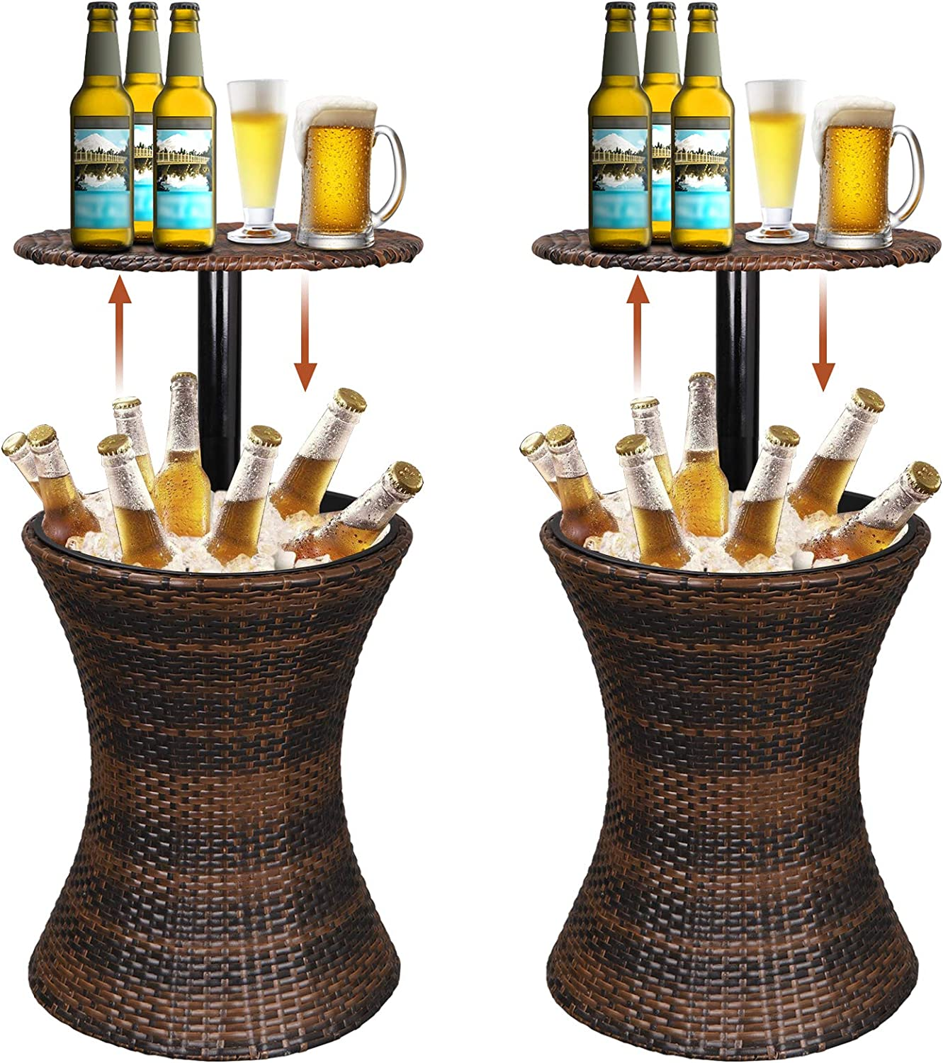Super Deal 3in1 Cool Wicker Bar Table Cooler Cocktail Coffee Table All in One, Rattan Style Adjustable Height Patio Party Deck Pool Use, Brown Set of 2