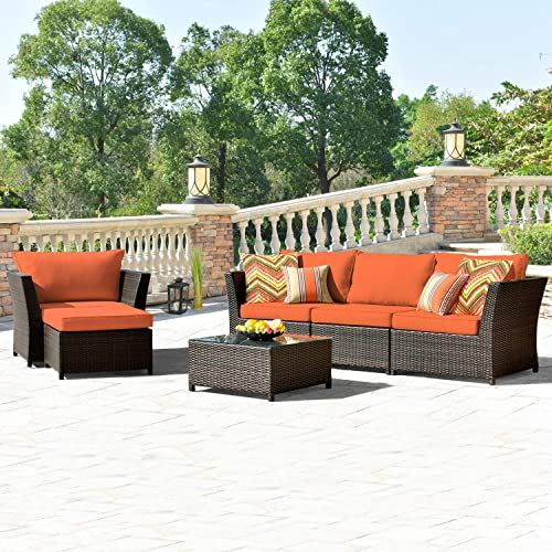 Allwex Patio Furniture Set,Outdoor Furniture 6 Pcs Sets,PE Rattan Wicker sectional