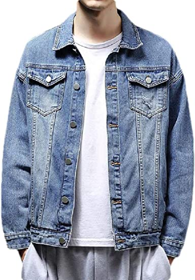 Men Casual Slim Fit Cotton Long Sleeve Pockets Denim Trucker Jacket