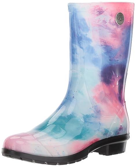 9b1297ef6fe UGG Women's Sienna Watercolor Rain Boot, Wild Rose/Waterfall, 7 M US ...