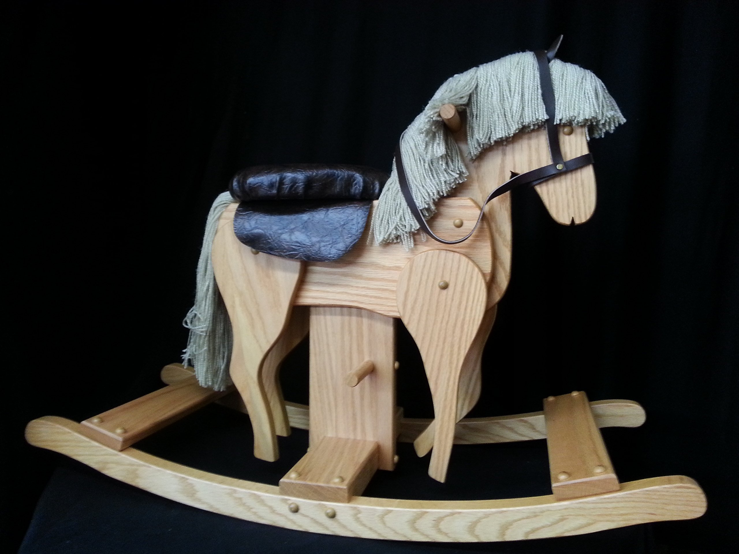 Wooden Galloping Rocking Horse Hobby Horse Solid Oak Kids Toy Golden Oak Stain