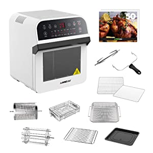 GoWISE USA 12.7-Quart 15-in-1 Electric Air Fryer Oven w/Rotisserie and Dehydrator + 50 Recipes for your Air Fryer Oven Book (White)