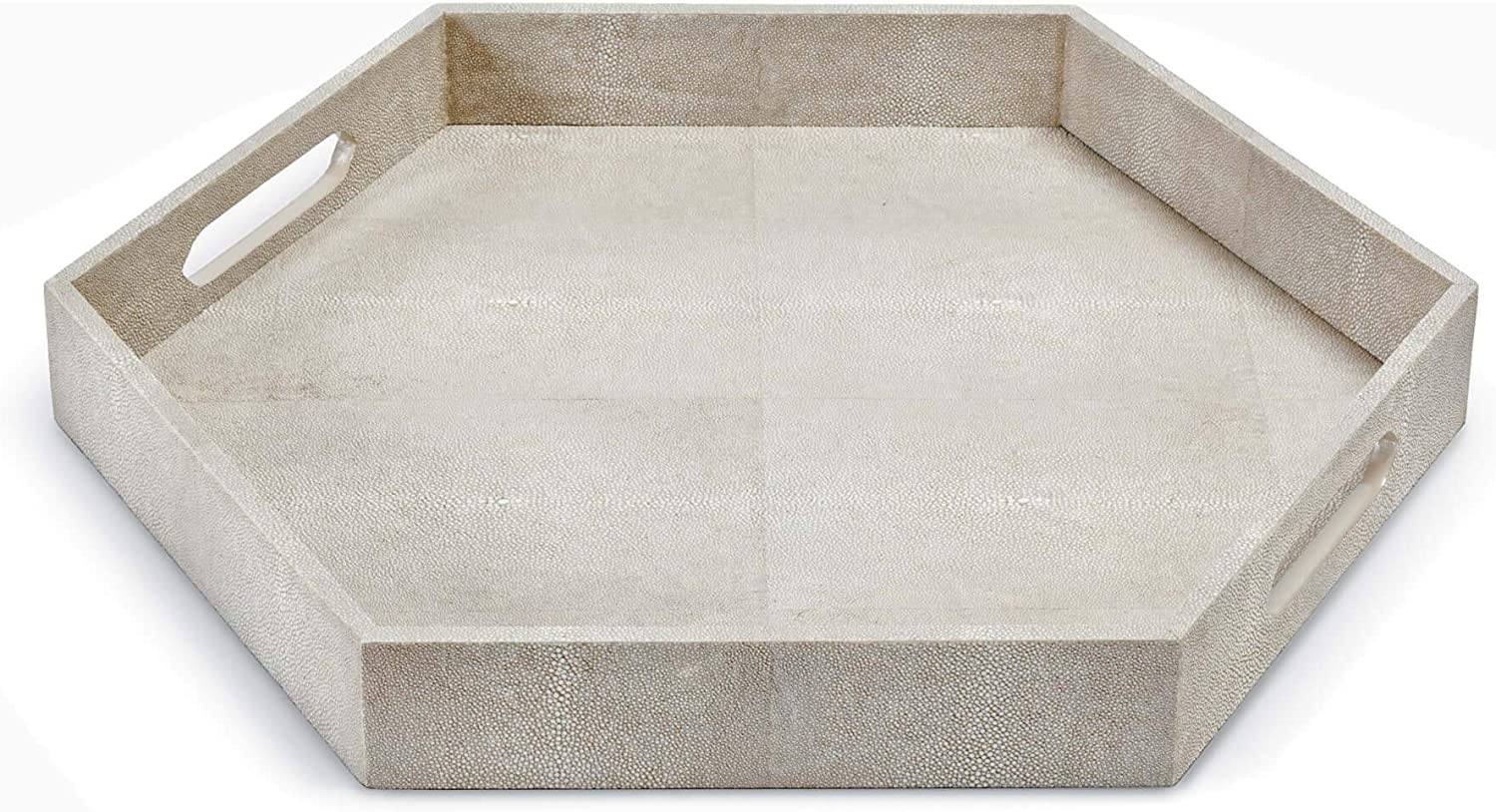 "Regina Andrew Shagreen Hex 2-1/2"" High White/Natural Ivory Grey Serving Decorative Tray"