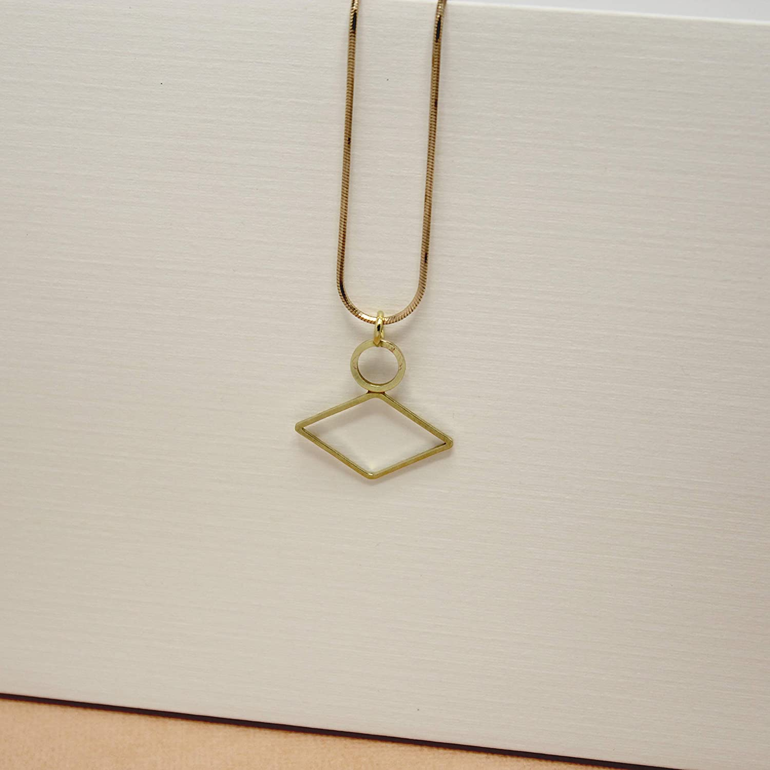 Mashallah Simple Dainty Delicate Geometric Necklace Gold Pendant