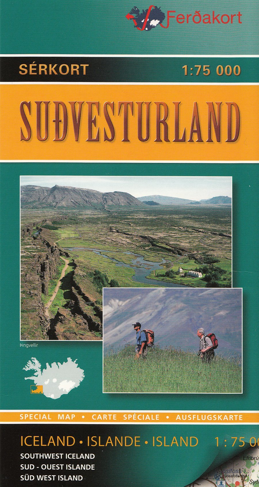Sudvesturland Southwest Iceland 1 75 000 Topographic Hiking And