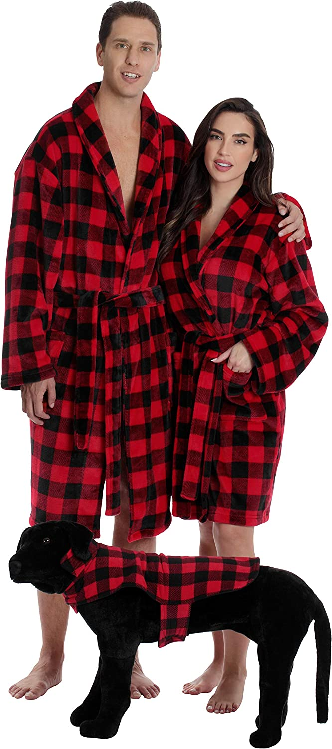 #followme Matching Velour Lounge Robes for Family Couples Dog and Owner Buffalo Plaid