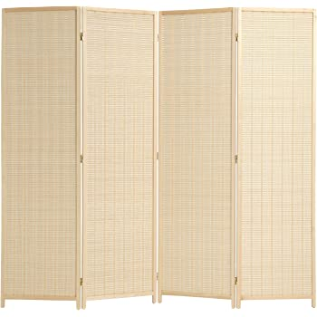 5591a93291b MyGift Decorative Freestanding Beige Woven Bamboo 4 Panel Hinged Privacy  Screen Portable Folding Room Divider COMIN16JU018583