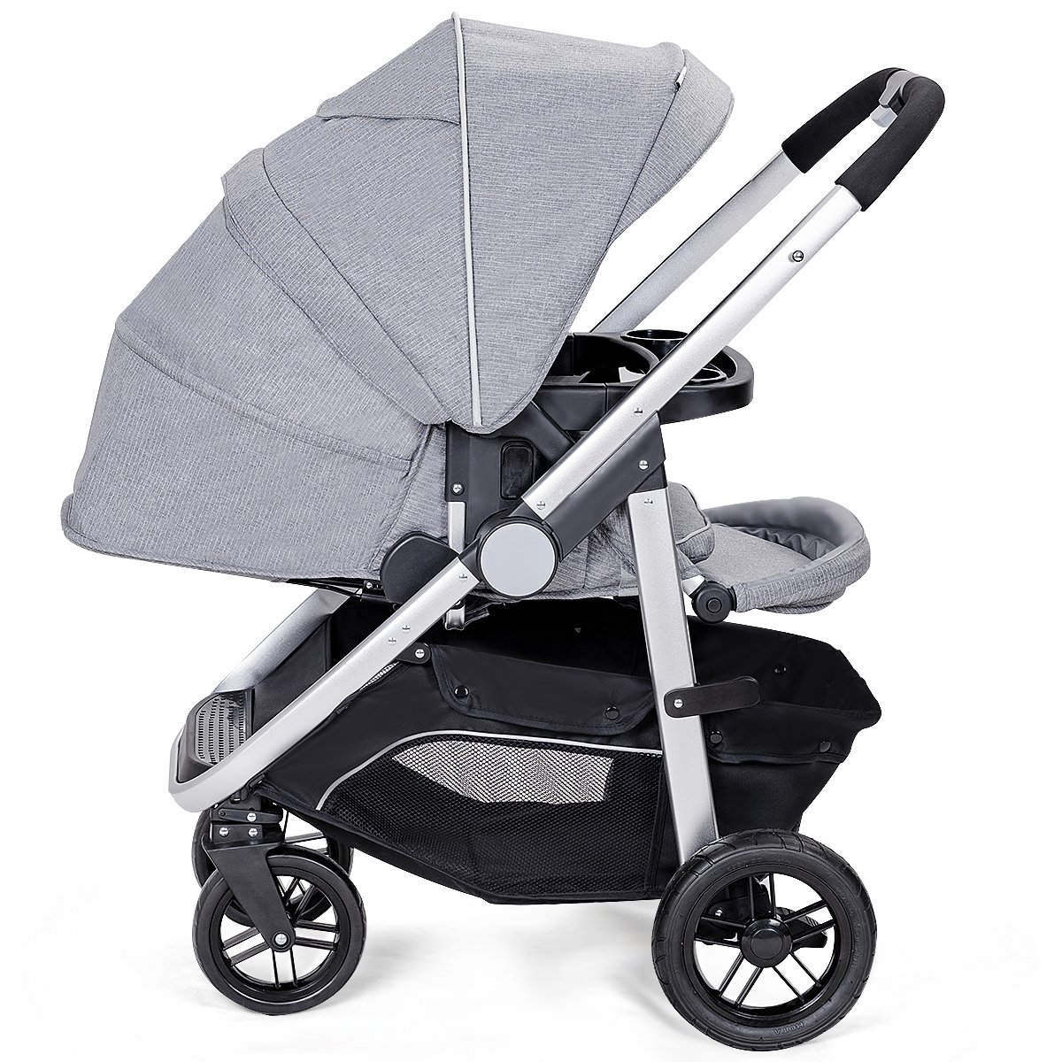 Costzon Baby Stroller, Convertible Baby Carriage, Infant Pram Stroller with Cup Holder and 5-Point Safety System (Gray)