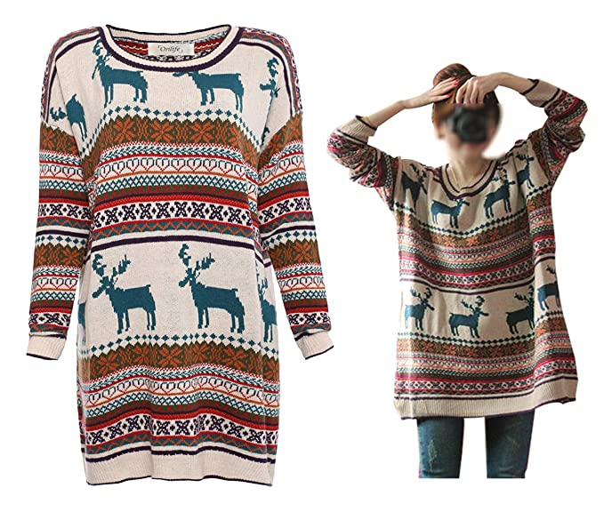 6532f86ed19 Orilife Women's Oversized Christmas Reindeer Snowflake Pullover Sweaters