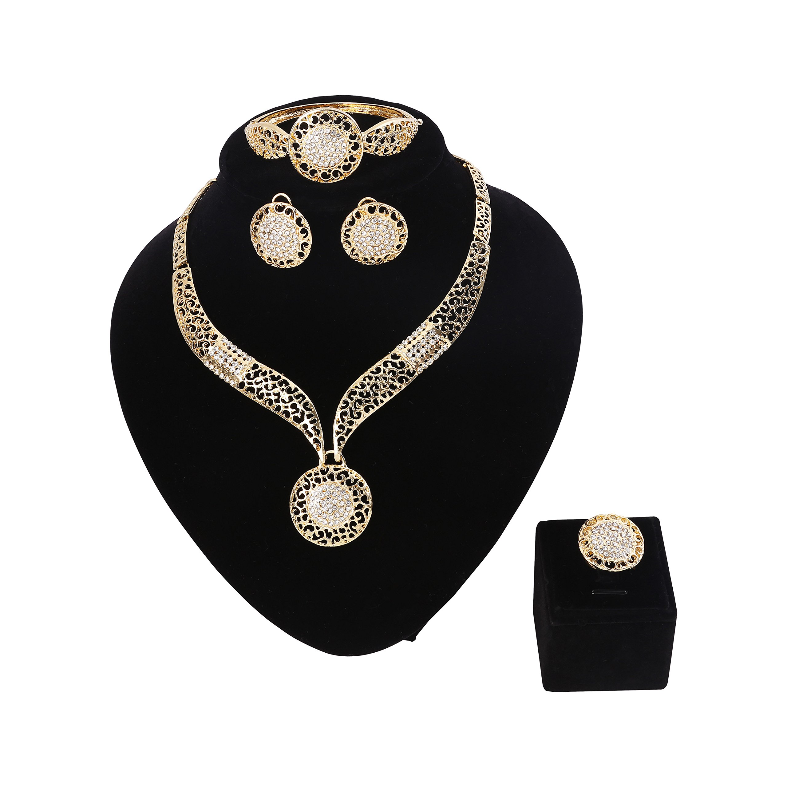 Paxuan Womens Silver Gold Plated Alloy Rhinestone African Jewelry Set Hallow Chain Choker Necklace Stud Earrings Cuff Bangle Bracelet Ring Set (Gold)