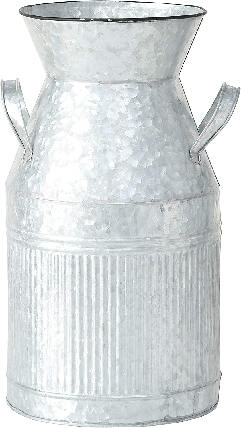 WHW Whole House Worlds Farmers Market Creamery Milk Can, Galvanized, Zinc, Corrugated Details, Metal, 8.75 Diameter x 15.75 Inches Tall (40 cm) Decorative Vase