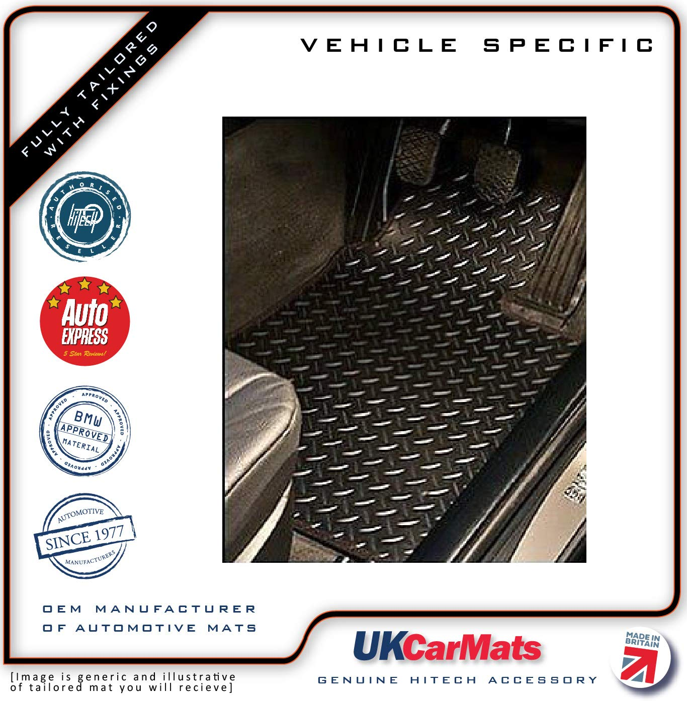 Genuine Hitech Tailored Chequered VS Rubber Car Mats Hitech OEM